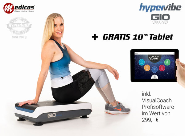 "HyperVibe G10 v2 Vibrationsplatte inkl. 10"" Tablet & VisualCoach Profisoftware"